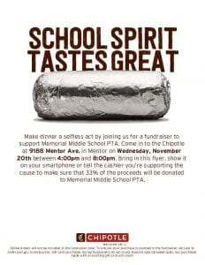 Chipotle Dining Out Fundraiser - Wednesday 11/20/19 @ Chipotle